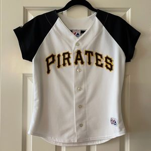 Majestic Pirates jersey - button front size Small